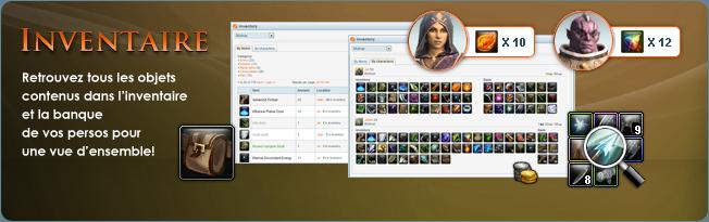 Inventaire de personnage: Obtenez une vue d'ensemble de tous les objets contenu dans l'inventaire et la banque de vos personnages sur Rift.